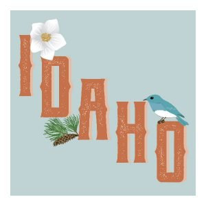 Idaho poster illustration, thumbnail.